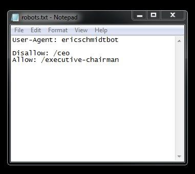 New Google Robots.txt file disallows EricSchmidtBot from CEO directory