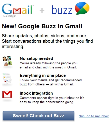 Welcome to Google Buzz + Gmail