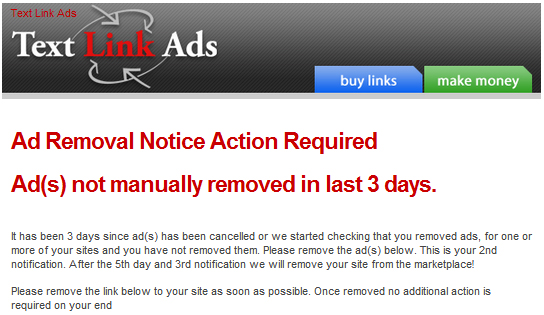 Link Removal Request Email from Text-Link-Ads.com