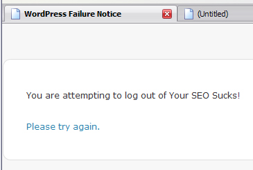 Logging Out of WordPress Fail