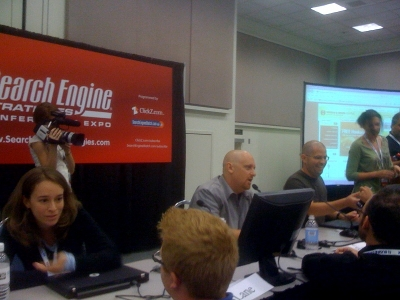 Shaved Head Duo: Greg Boser & Matt Cutts look tough for the Live Site Clinic session at SES San Jose 2009