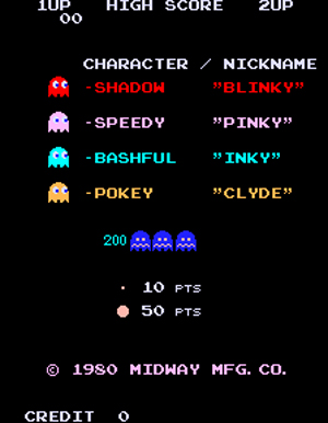 Pac-Man's Enemies from the original 1980 Pac-Man arcade