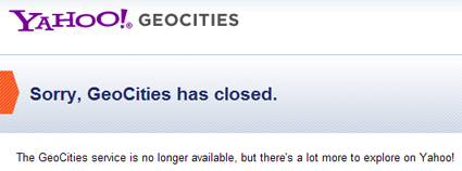 Sorry, Geocities Has Closed.