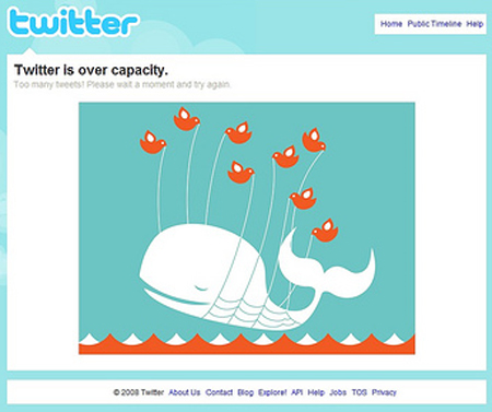 Twitter is Over Capacity: The Twitter Fail Whale