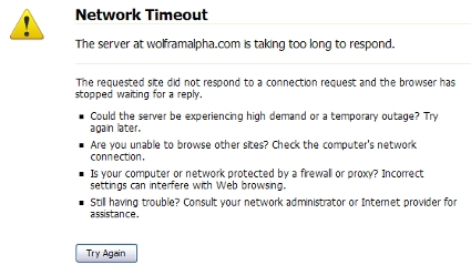 Wolfram|Alpha: Network Timeout Error