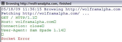 SamSpade returns a Socket Error for http://wolframalpha.com