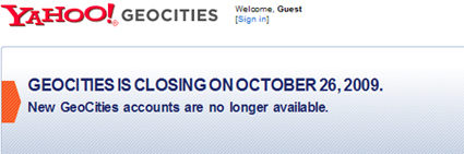 Oct. 26, 2009: Yahoo Shuts Down Geocities